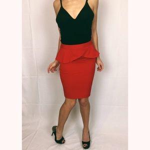 Express Bright Red Peplum Pencil Skirt NWOT